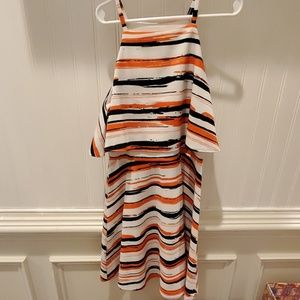 Aqua Dress with orange and dark navy